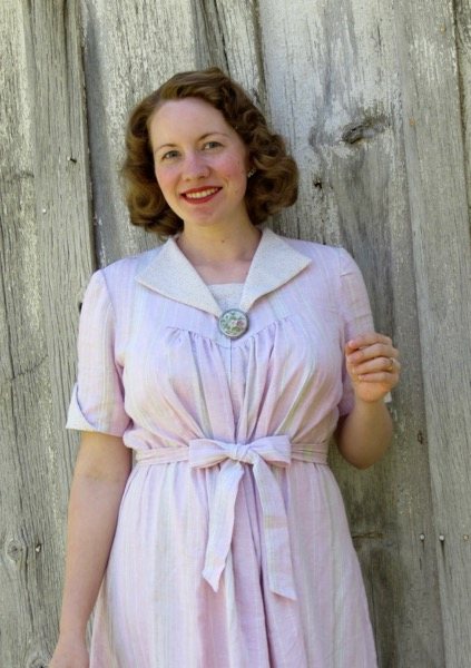 1940s Pink Linen Maternity Dress Verity Vintage Studio