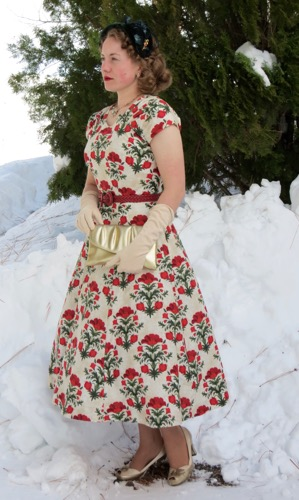 poppy print christmas dress verity vintage studio