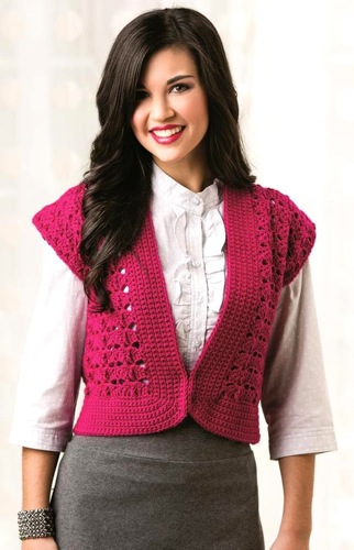 Finesse Vest_Without Ruffle Yarn Flowers
